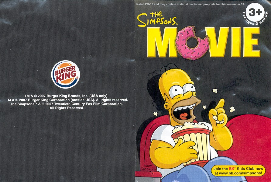 Homer 2007 The Simpsons Movie Burger King Kids Meal Toy